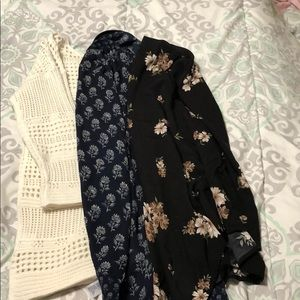 Old navy sweater and 2 cute forever 21 kimonos